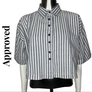 Approved Box Style Button Front Crop Shirt Blue
